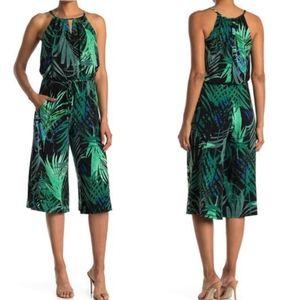 London Times Jungle Palm Print Crop Leg Jumpsuit
